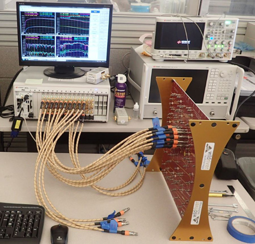 S parameters signal integrity analysis in the blink of an eye a 32 port vna test system is testing a xtalk 32 test platform courtesy of wild river technology ccuart Choice Image